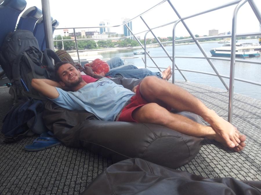 Confort Zone in the ferry to Zanzibar