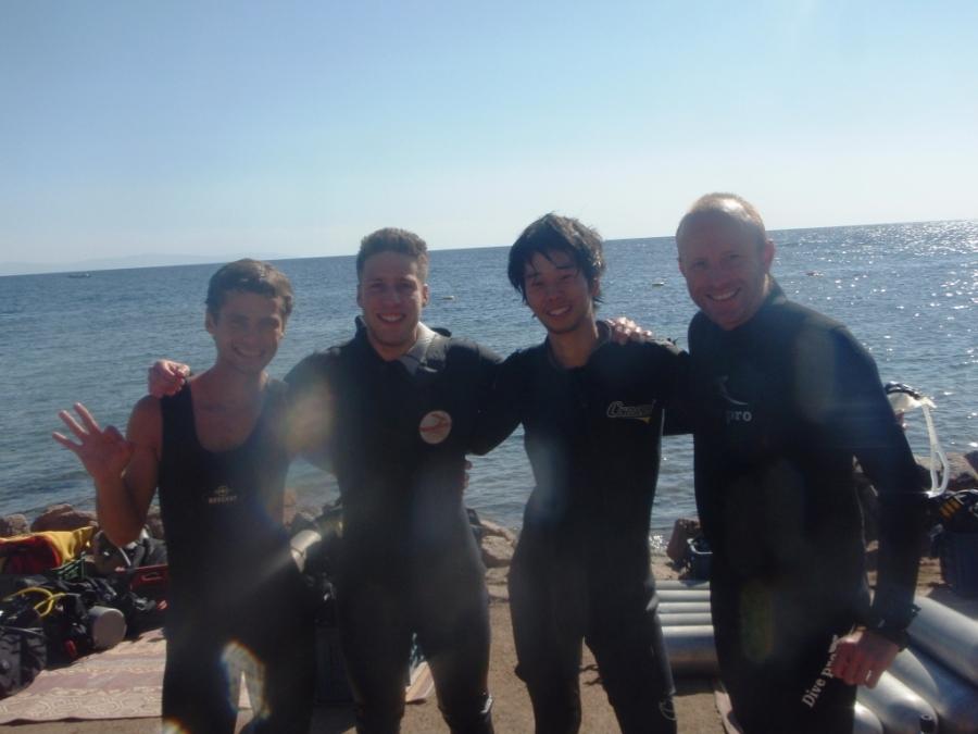 Eu e a equipe de Mergulho: Lirón, Jay e Toxico!