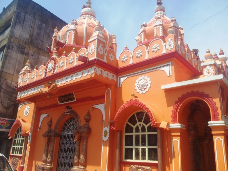 Small orange temple in Goa